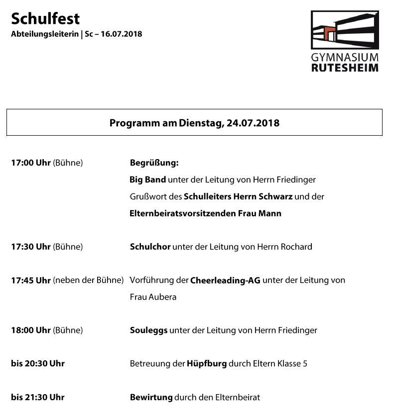 2018 07 17 Schulfest Programm