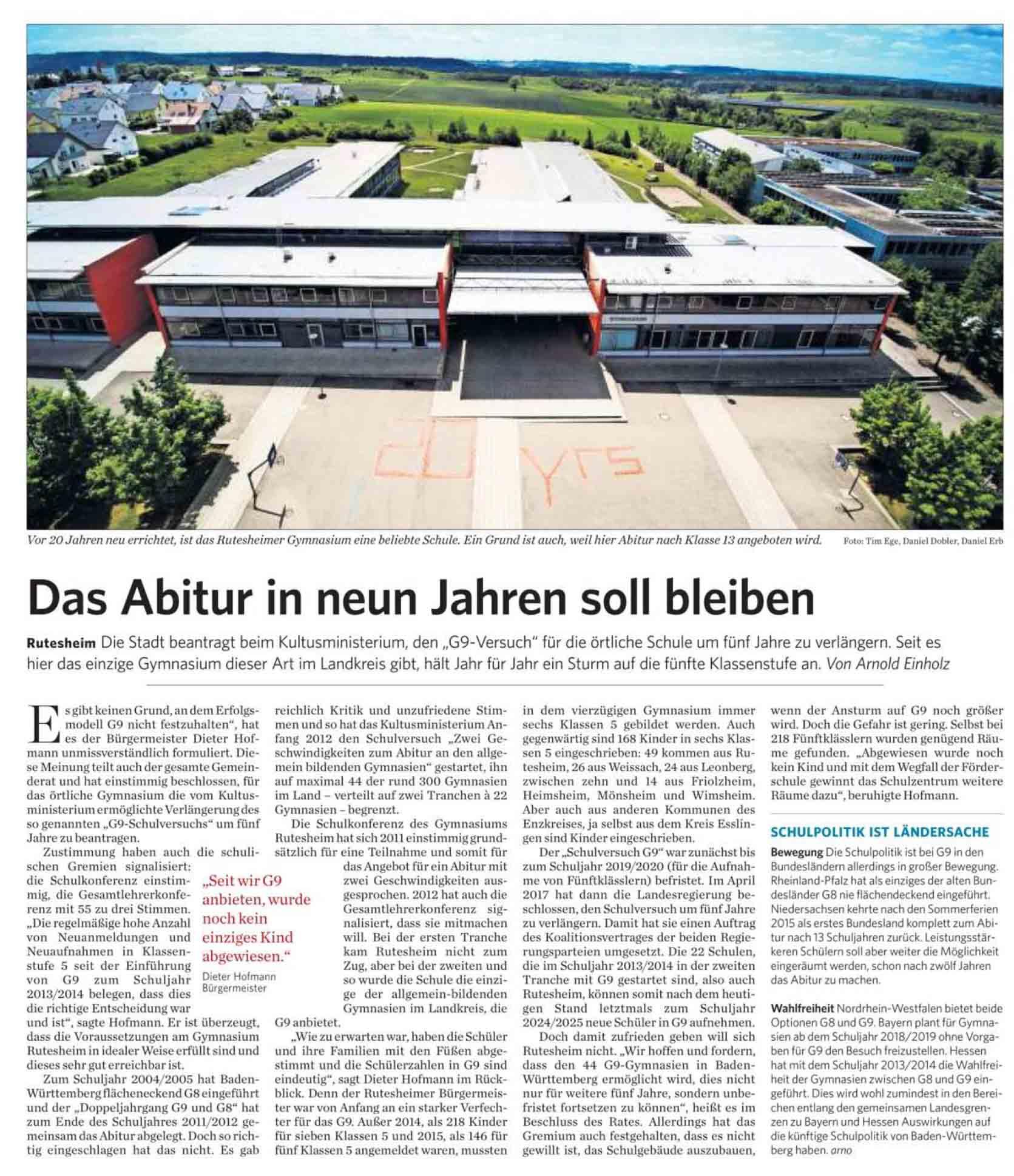 2017 10 05 Das Abitur in neun Jahren soll bleiben