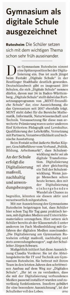 2018 10 29 Gymnasium als digitale Schule ausgezeichnet