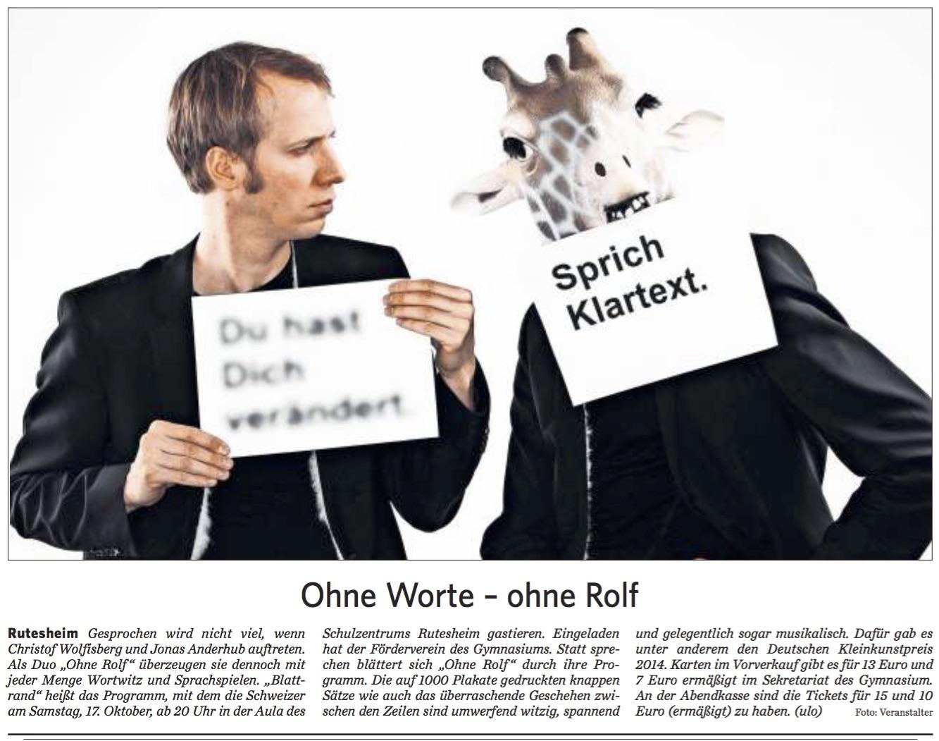 2015 10 13 Ohne Rolf ohne Worte